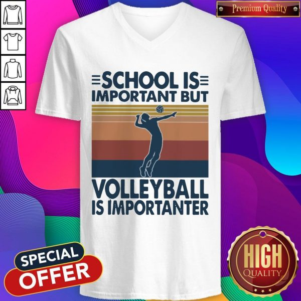 School Is Important But Volleyball Is Importanter Vintage V- neck