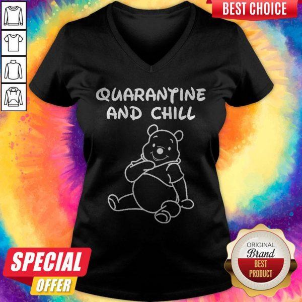Top Bee Cartoon Quarantine And Chill V- neck