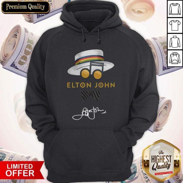 Top Elton John Hat Signature Hoodie