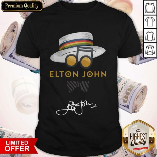 Top Elton John Hat Signature Shirt