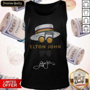 Top Elton John Hat Signature Tank Top