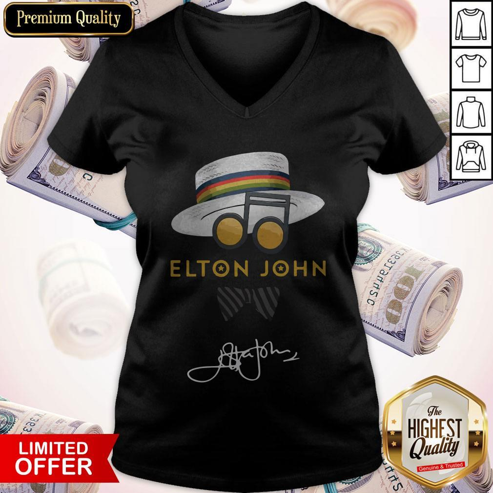 Top Elton John Hat Signature V- neck