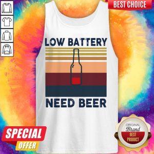Top Low Battery Need Beer Vintage Retro Tank Top