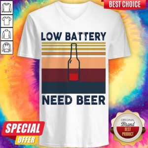 Top Low Battery Need Beer Vintage Retro V- neck