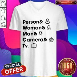 Top Person Woman Man Camera TV V- neck