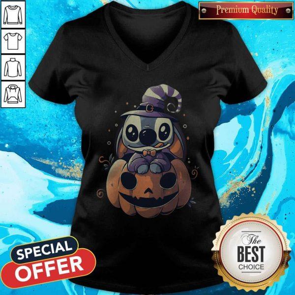 Top Stitch Pumpkin Halloween V- neck