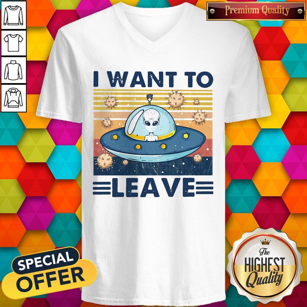 UFO I Want To Leave Vintage V- neck