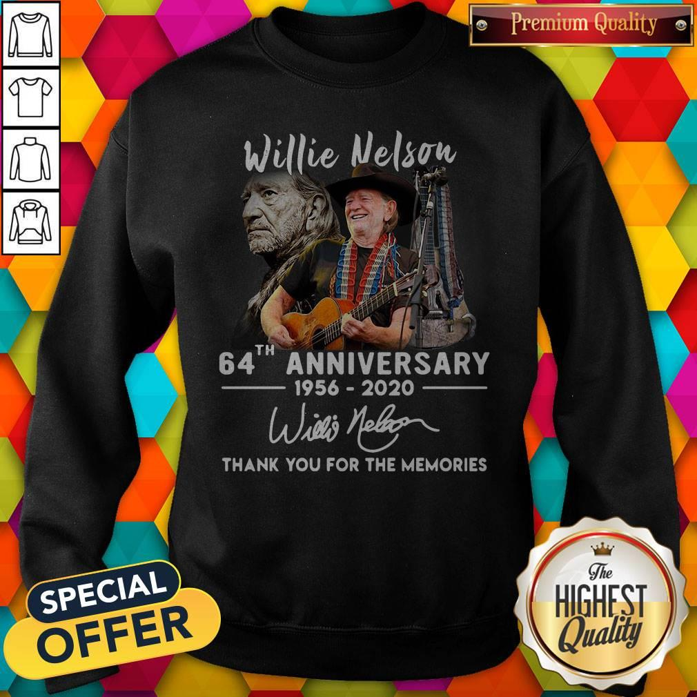 Willie Nelson 64th Anniversary 1956 2020 Thank You For The Memories Signature Sweatshirt