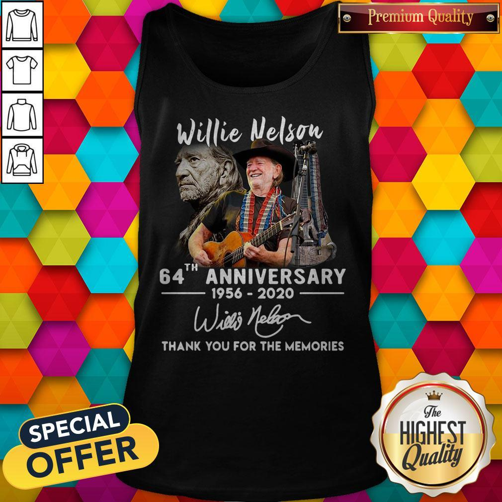 Willie Nelson 64th Anniversary 1956 2020 Thank You For The Memories Signature Tank Top