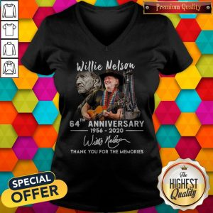 Willie Nelson 64th Anniversary 1956 2020 Thank You For The Memories Signature V- neck
