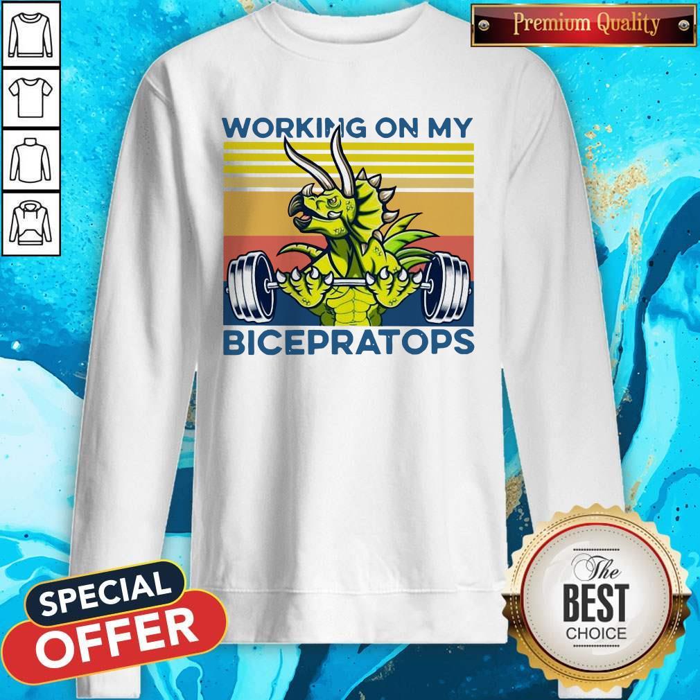 Working On My Bicepratops Vintage Sweatshirt