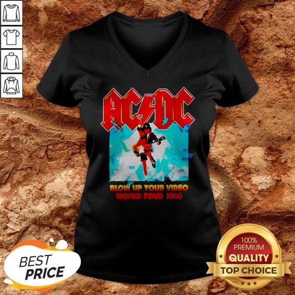 AC DC Blow Up Your Video World Tour 1988 V-neckAC DC Blow Up Your Video World Tour 1988 V-neck