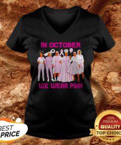 Black Womans In October We Wear Pink V-neck