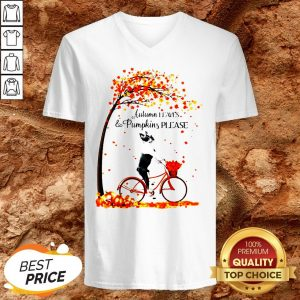 Bostie Autumn Leaves And Pumpkins Please V-neck