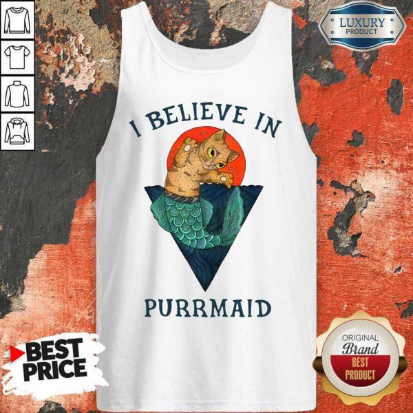 Cat I Believe In Purrmaid Sunset tank-top