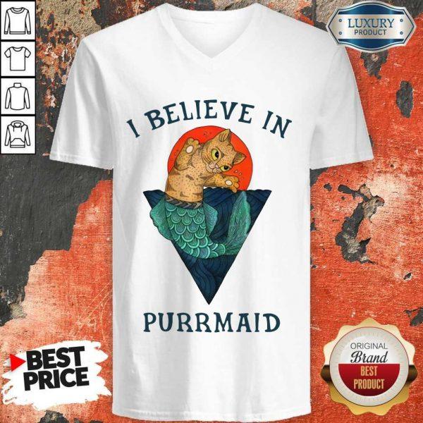 Cat I Believe In Purrmaid Sunset v-neck