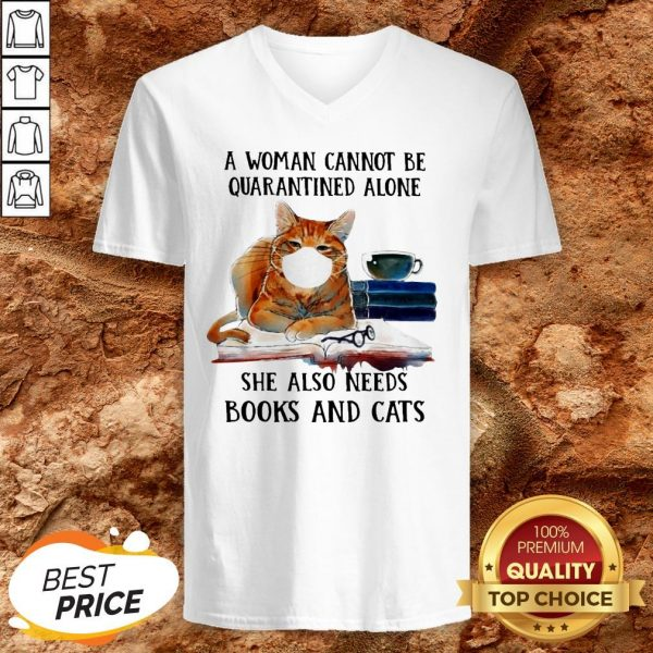 Cats Face Mask And Books A Woman Alone She Also Needs V-neck