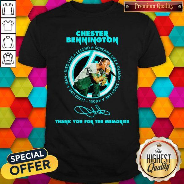 Chester Bennington Thank You For The Memories Signature ShirtChester Bennington Thank You For The Memories Signature Shirt