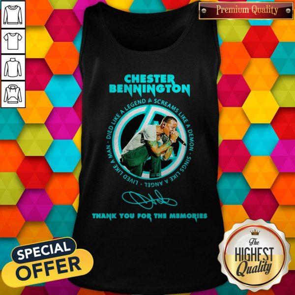 Chester Bennington Thank You For The Memories Signature Tank Top