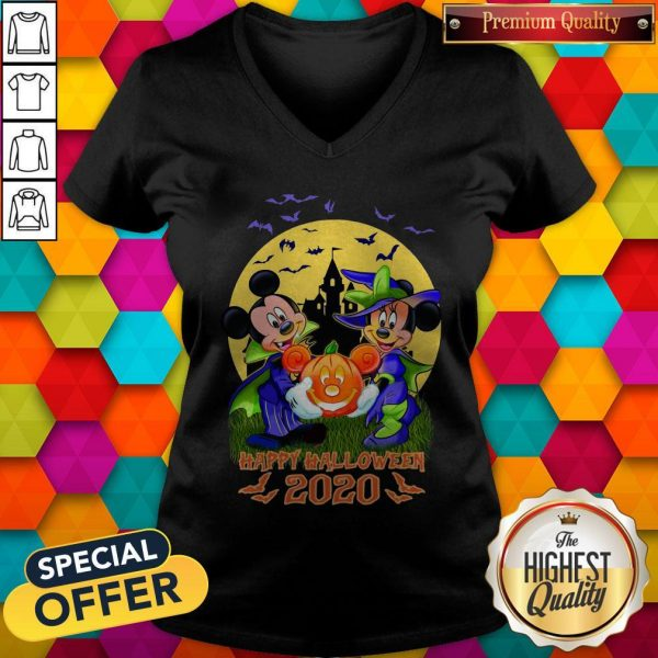 Disney Halloween Shirt Mickey And Minnie Happy Halloween 2020 Disney V-neck