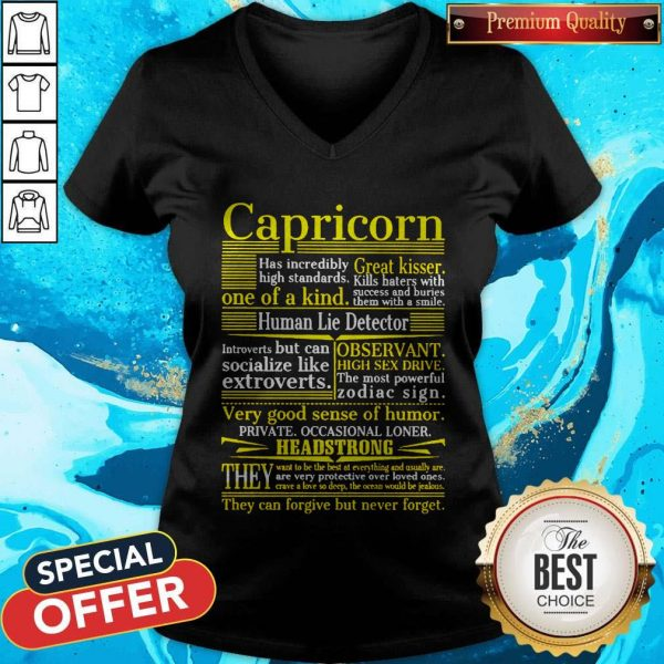 Funny Capricorn Headstrong V-neck