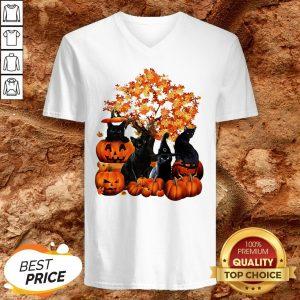 Good Cats Pumpkin Halloween V-neck