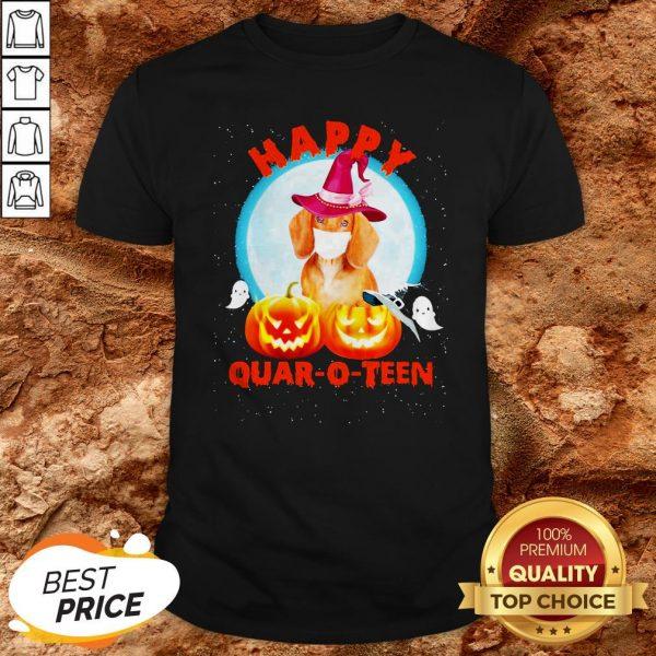Halloween Dachshund Face Mask Pumpkin Happy Quar O Teen Shirt