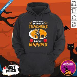 High School Science Teachers Love Brains Apple Halloween Hoodie