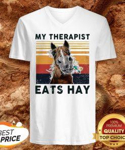 Horse My Therapist Eats Hay Vintage V-neck