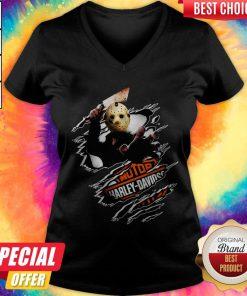 Jason Voorhees Motor Harley Davidson Blood Inside Me V-neck