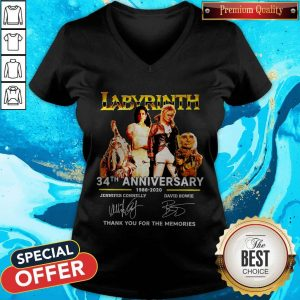 Labyrinth 34th Anniversary 1986 2020 Thank You For The Memories Signatures V-neck
