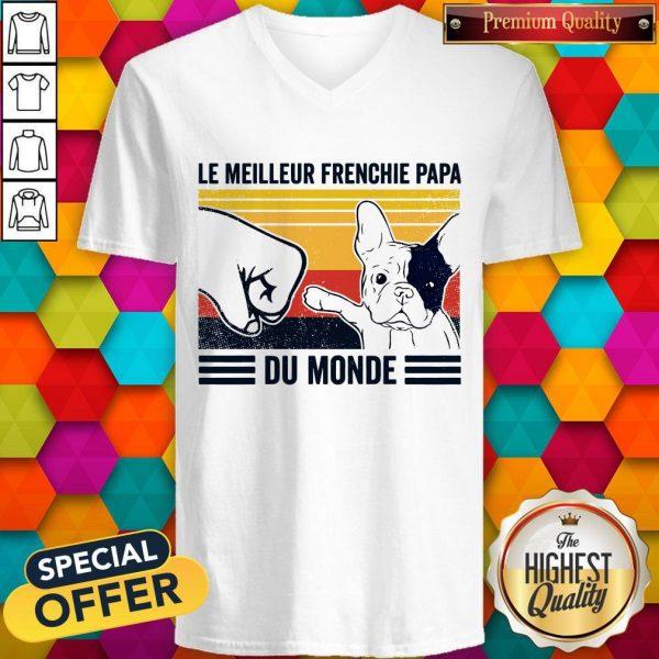 Le Meilleur Frenchie Papa Du Monde Vintage V-neck