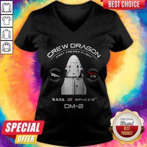 Nice Crew Dragon Nasa Space Dm-2 V-neck