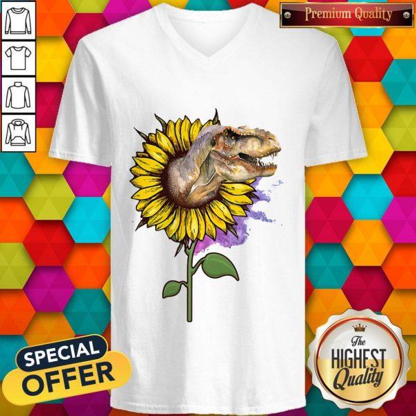 Nice Dinosaurs T Rex Sunflower V-neckNice Dinosaurs T Rex Sunflower V-neck