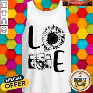 Nice Love Camera Sunflower Tank TopNice Love Camera Sunflower Tank Top