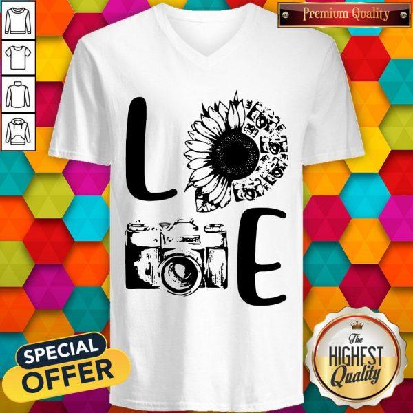 Nice Love Camera Sunflower V-neck