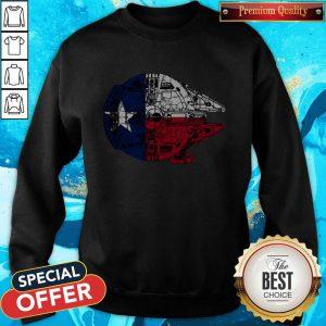 Nice Texas Flag And The Millennium FalcoNice Texas Flag And The Millennium Falcon Sweatshirtn Sweatshirt