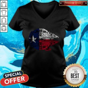 Nice Texas Flag And The Millennium Falcon V-neck