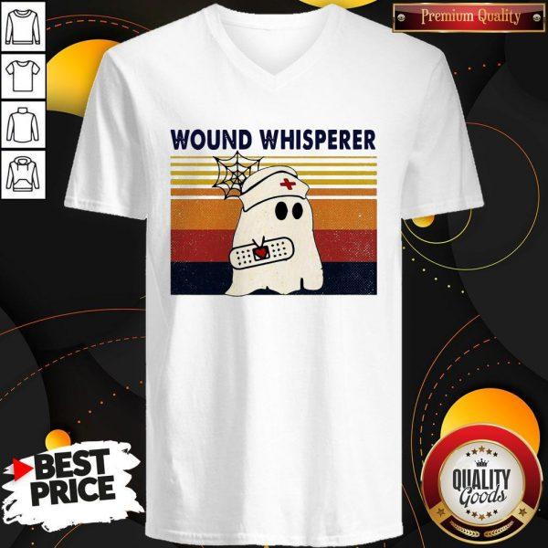 Official Nurse Ghost Wound Whisperer Vintage V-neckOfficial Nurse Ghost Wound Whisperer Vintage V-neck