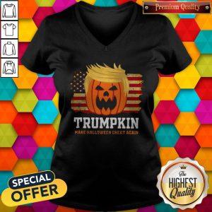 Trumpkin Make Halloween Great Again American Flag V-neckTrumpkin Make Halloween Great Again American Flag V-neck