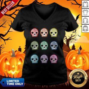 Baby Suga Skulls Day Of The Dead Dia De Los Muertos V-neck