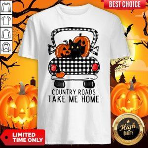 Country Roads Take Me Home Pumpkin Cat Halloween Shirt