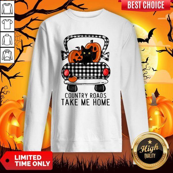 Country Roads Take Me Home Pumpkin Cat Halloween Sweatshirt
