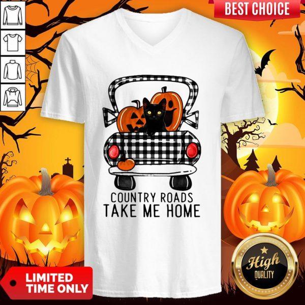 Country Roads Take Me Home Pumpkin Cat Halloween V-neck