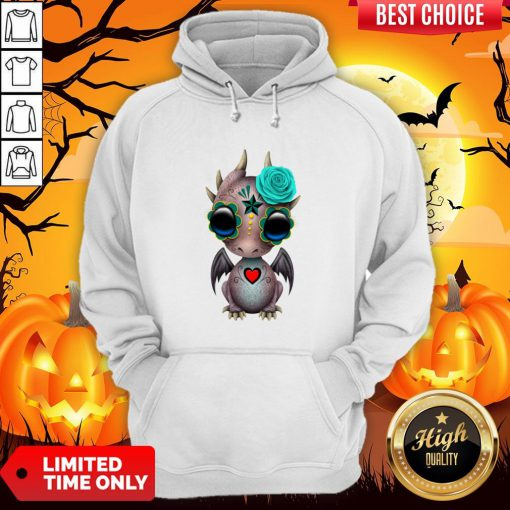 Day Of The Dead Sugar Skull Baby Dragon Halloween Hoodie