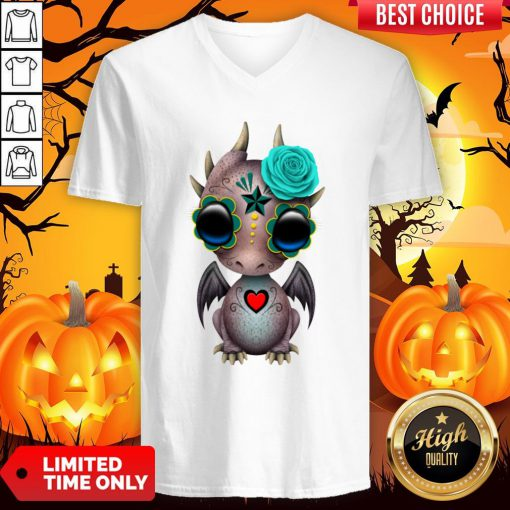 Day Of The Dead Sugar Skull Baby Dragon Halloween V-neck