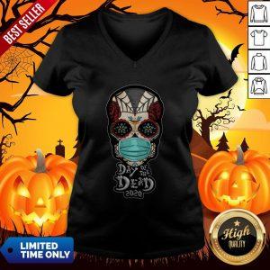 Day Of The Dead Sugar Skull Face Mask Halloween V-neck