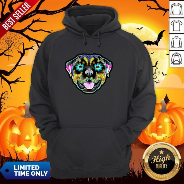 Day Of The Dead Sugar Skull Rottweiler Dog Hoodie
