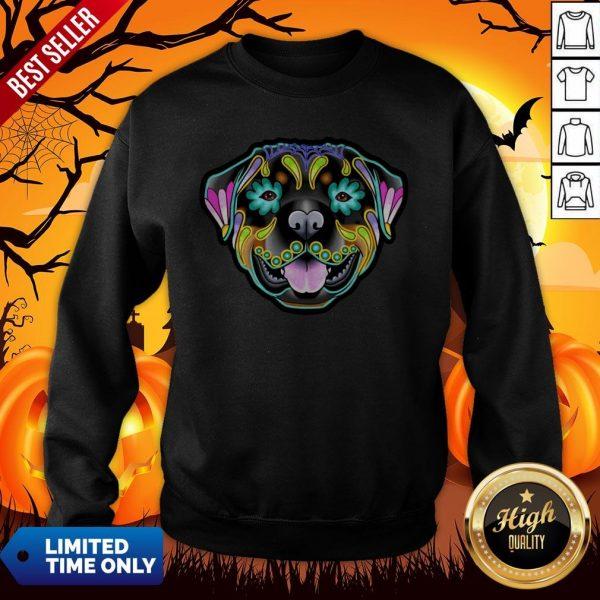 Day Of The Dead Sugar Skull Rottweiler Dog Sweatshirt