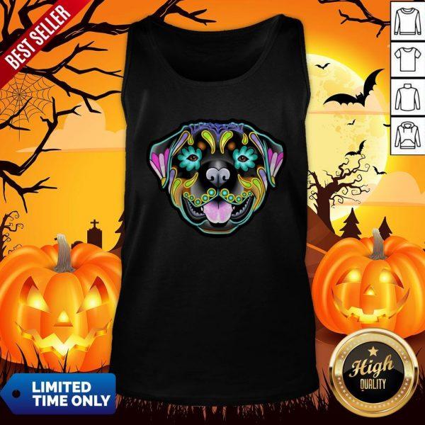Day Of The Dead Sugar Skull Rottweiler Dog Tank Top